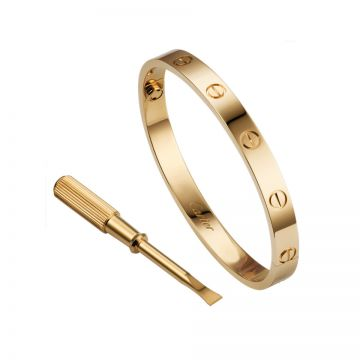 Cartier Love Yellow Gold-plated Bangle Encrusted Screw Motif With Screwdriver Celebrity Style Sale Malaysia Unisex B6035517