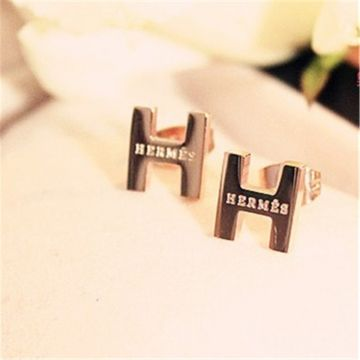 Hermes H Logo Rose Gold-plated Earrings Price In Singapore Valentine Gift For Girls