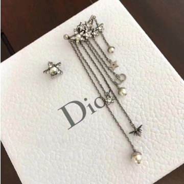 Fashion Trends Christian Dior Star Motif Aged Metal Ladies CD Bee Pendant White Pearl Tassel Drop Earrings
