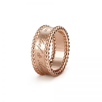 Dupe Van Cleef & Arpels Women's Perlee Signature Rose Gold-plated Ring Logo Studded Beaded Edge America Sale VCARN32400
