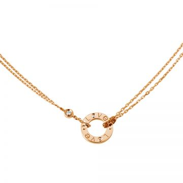 "Cartier Love Replica Rose Gold-plated Two Chain Decked ""Love"" Diamonds Necklace Circle Pendant Celebrities Canada B7224509"