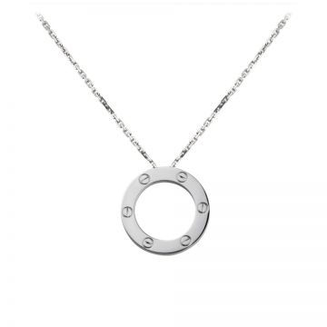 Cartier Love Silver Circle Pendant Adorned Screw Motif Chain Unisex Necklace Classic Style Sale Sydney B7014300