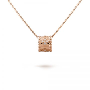 Replica Van Cleef & Arpels Perlee Clovers Rose Gold-plated Studded Diamonds Pendant Necklace Online Shop UK Lady VCARO2EE00