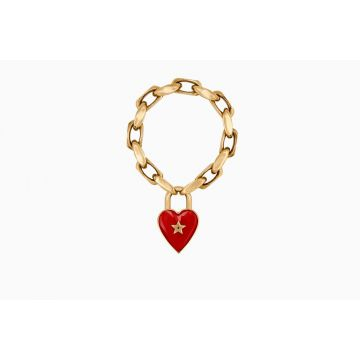 Dior Limited Edition Dioramour Red Heart Padlock Thick Chain Ladies Brass Bracelet B0628DMRLQ_D911