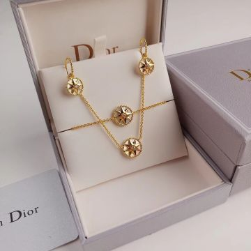 Replica Hot Selling Christian Dior Rose Des Vents 18K Yellow Gold & White MOP Lucy Star Pendant Jewellery Set Earring/Necklace/Bracelet
