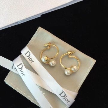 Latest Design Dior Tribales White Pearl Trimming Double Curving Detachable  Yellow Gold Earrings For Ladies USA