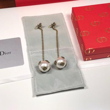 2019 Limited Edittion Christian Dior White Pearl Ball Pendant Yellow Gold Bee Diamonds Drop Earrings For Ladies