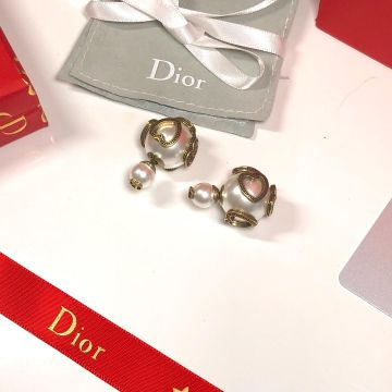 High End Christian Dior Tribales Asymmetric Brass Juicy Shaped Trimming White Pearl CD Stud Earrings Replica
