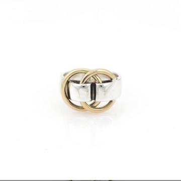 Replica Unisex Hot Selling Hermes Yellow Gold Double Circles Charm High End Silver Wide Ring For Sale