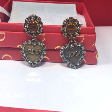 Most Fashion Dior L'Amour Avenir Vintage Yellow Crystal Heart Pendant Female Aged Gold-tone Diamonds Earrings Online