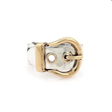 Women's Vintage Style Hermes Buckle Belt Design Yellow Gold & 925 Sterling Silver Two-tone Ring Price US