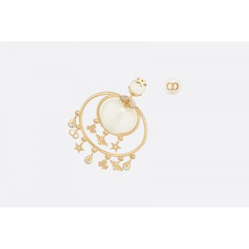 High Quality Dior Tribales Yellow Gold Flower/Bee/Star/CD Pendants Females Asymmetry Pearl Earrings E0955TRIRS_D301