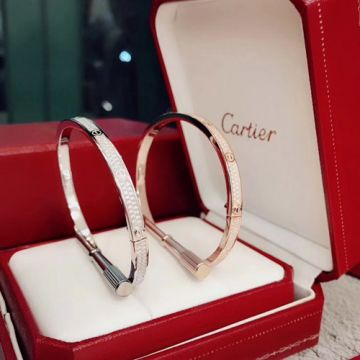 Classic Cartier Love Female Paved Diamonds Narrow Style Bangle Popular Jewellery Silver/ Rose Gold