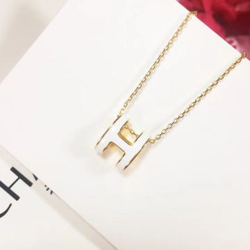Replica Classic Fashion Hermes Pop H Logo Enamel Pendant Females Yellow Gold Plated Necklace White/Red/Orange/Black