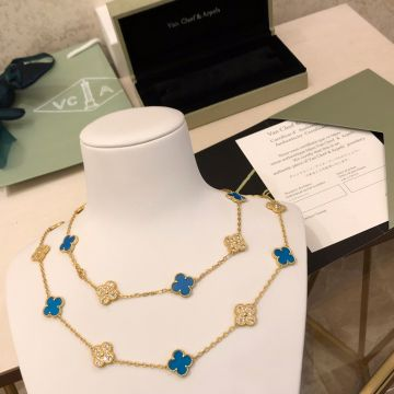 Timeless Style VCA Vintage Alhambra Blue Sevres & Diamonds Clover Pendant Women Yellow Gold Vendôme Edition Long Necklace VCARO5L800