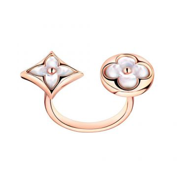 Most Luxury Louis Vuitton Color Blossom BB Asymmetrical Monogram Flowers Charm Female Mother Of Pearl Ringent Between Finger Ring Rose Gold/ Silver