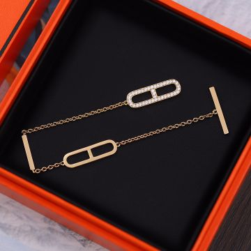 Hermes Chaine D'Ancre Paved Diamonds Anchor Design Females Rose Gold Chain Bracelet 2021 Fashion Jewellery For Ladies