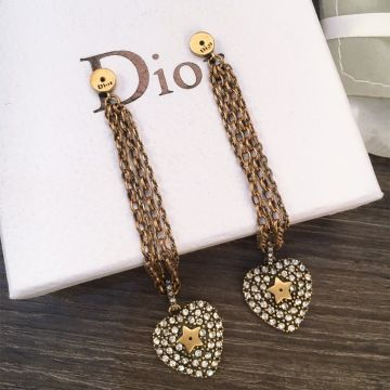 Retro Style Dior La Petite Tribale Heart Motif Paved Diamonds Link Tassel Female Brass Fake Drop Earrings Price List