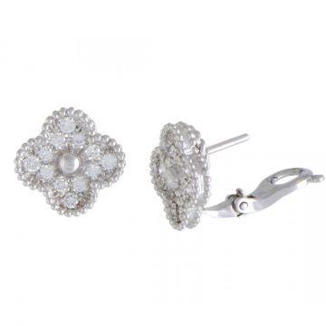 Replica Van Cleef & Arpels Vintage Alhambra 925 Sterling Silver Paved Diamonds Hoop Earrings Price Malaysia For Ladies