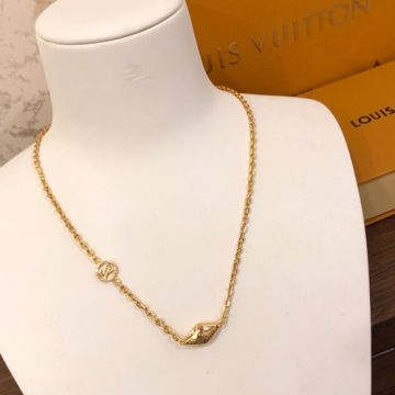 2021 Fashion Jewellery Vuitton Yellow Gold LV & Monogram Pattern Diamond-shaped Pendant Necklace Online For Men