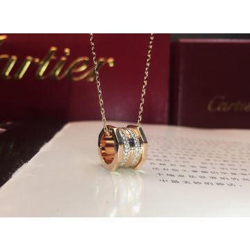 Celebrity Style Ecroude De Cartier Screw Pendant Female Double Row Diamonds Necklace Rose Gold/Yellow Gold