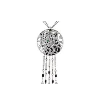 2021 Hot Sale Panthère de Cartier Paved Diamonds Disk Pendant Sterling Silver Tassel Necklace For Ladies