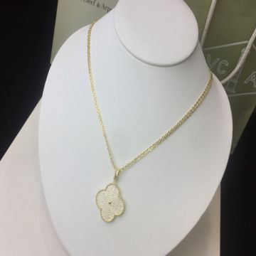 Van Cleef & Arpels Magic Alhambra Hot Selling Big Model Clover Pendant Paved Diamonds Long Necklace For Ladies