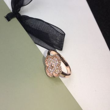 VCA Magic Alhambra Luxury Paved Diamonds Clover Leaf Design Female Ring Fashion Jewellery Silver/Yellow Gold/Rose Gold
