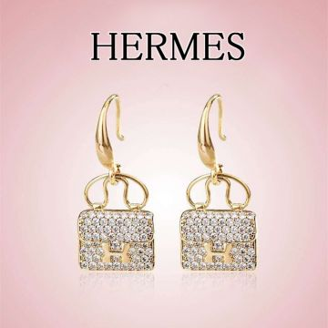 Hermes High End Kelly Yellow Gold Plated Paved Diamonds Bag Pendant Lady Earrings Replica Jewellery