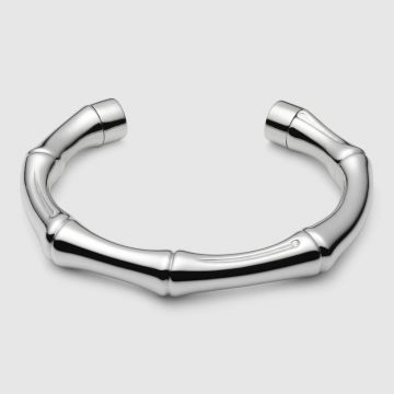 Couples Style High Quality Gucci Bamboo Design 925 Sterling Silver Female Cuff Bangle Large/Small Size Price List Fashion Jewellery