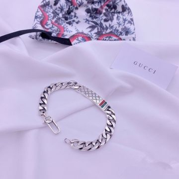2021 Women's Gucci Icon Diamond Pattern Classic Red & Green Web Motif 925 Sterling Silver Chain Bracelet  Jewellery Gift