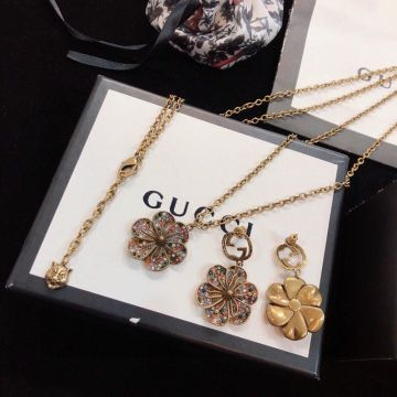 Women's Gucci Brass Multicolor Diamonds Flower-shaped Pendant Tiger Head Charm Brass Necklace/Stud Earrings Luxury Jewellery Set