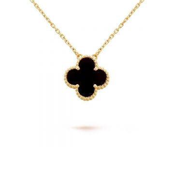 Best Price VAC 25MM Big Model Vintage Alhambra Clover Pendant Beaded Edges Women Yellow Gold Necklace Black Onyx/White MOP/Malachite VCARA45800