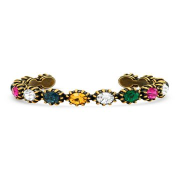 2021Women's Gucci Sumptuous Multicolor Crystal Classic Brass Cuff Bangle High End Jewelry Online