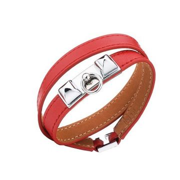 Hermes Copy Rivale Double Tour Red Leather Bracelet Pyramid Silver Plated Hardware Valentine Gift Lady H064644CK8WS