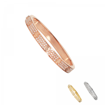Cartier Love Women's Three-layer Paved Crystals Silver Rose/Yellow Gold-plated Bangle Screw Detail Price In Dubai N6036917/N6035017/N6033602
