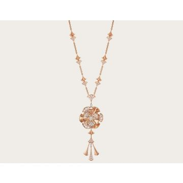 Elegant Bvlgari Divas' Dream Three Diamonds Fan-shaped Pendant Ladies Tassel Necklace Silver/Rose 348361 CL856457