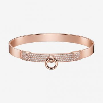 Hermes Collier De Chien Ring Charming  Diamonds Studs Womens Rose Gold Collar Bangle H110017B 00SH USA