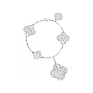 2021 High End Van Cleef & Arpels Magic Alhambra White Gold Five Different-sized Clovers Pendant Women Paved Diamonds Chain Bracelet VCARN9MQ00