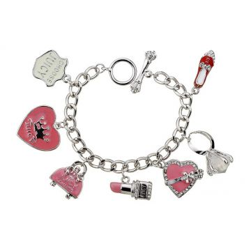 Juicy Couture Pink Enamel Bag Lipstick Shoe Multi Charms Silver Thick Chain Bracelet Paris Women