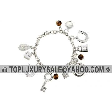 Clone Juicy Couture Silver Chain Bracelet Mixed Diamonds Charms Key & Lock For Girls LA Review