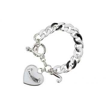 Juicy Couture Banner Heart Starter Thick Chain Bracelet Unisex Charm With Signature Hip-hop Style NYC