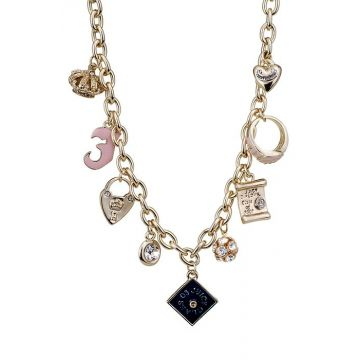 Juicy Couture Women Knockoff Mixed Charms Studded Diamonds Golden Chain Necklace Price Singapore