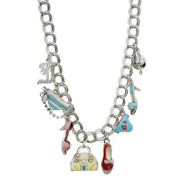 Fashion Juicy Couture Silver Chain Necklace Pink Red Blue Enamel Crystals Charms Birthday Gift Girls