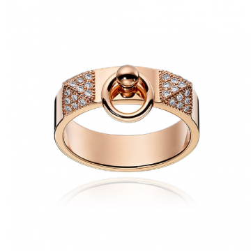 Hermes Collier De Chien Rose Gold-plated Crystals Inlaid Wide Ring Formal Dinner For Women Australia H115610B 00046