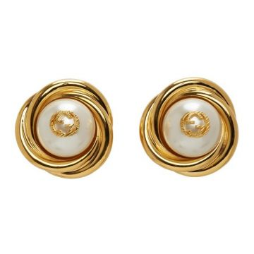 Replica 2021 New Style Gucci Interlocking G Brass Stud Earrings White Faux-pearl Fashion Jewellery For Ladies