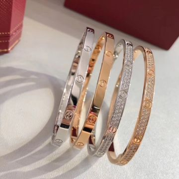 Timeless Style Cartier Love Narrow Fashion Diamonds Bangle For Ladies 925 Silver/Rose Gold N6710717/B6047317