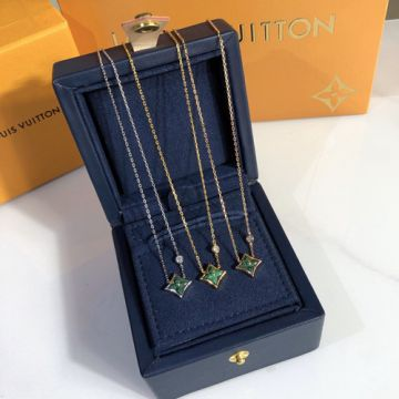 2021 Spring Fashion Louis Vuitton Color Blossom BB Star Malachite Monogram Pendant Women Necklace Sterling Silver/Yellow Gold/Rose For Sale