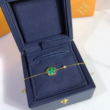 Most Popular Louis Vuitton Color Blossom Malachite BB Sun & Star Monogram Flower Women Chain Bracelet Rose Gold/Yellow Gold Q95546