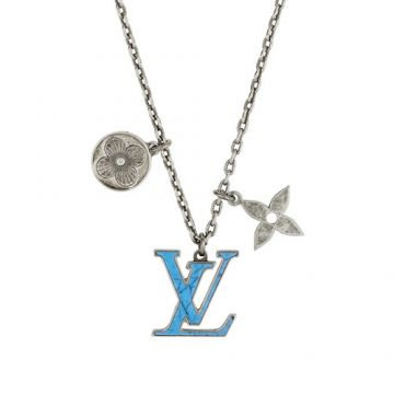 Louis Vuitton Pendant Chain LV Turquoise Monogram Flower Pendant Antique Silver Male Necklace Fashion Jewellery M68904